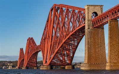 forth bridge, railroad bridge, norden, meer, abend, sonnenuntergang, firth of forth, schottland