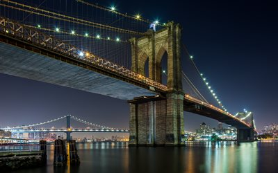 brooklyn bridge, hängebrücke, new york, east river, nacht, stadt, lichter, stadtbild, new york city, usa