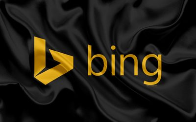 Bing, logo, emblem, search engine, black silk