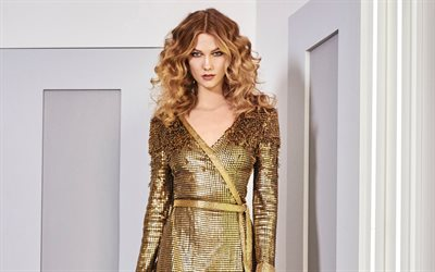 Karlie Kloss, portrait, american model, golden dress with sparkles, evening make-up, blondes