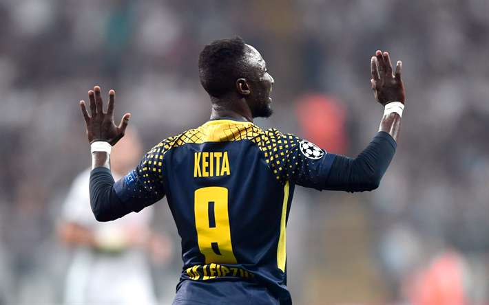 Download Wallpapers Naby Keita, 4k, RB Leipzig