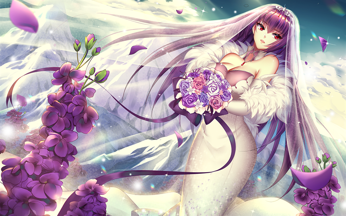 Download Wallpapers Scathach White Dress Fate Grand Order Purple Hair Manga Type Moon Fate Series For Desktop Free Pictures For Desktop Free