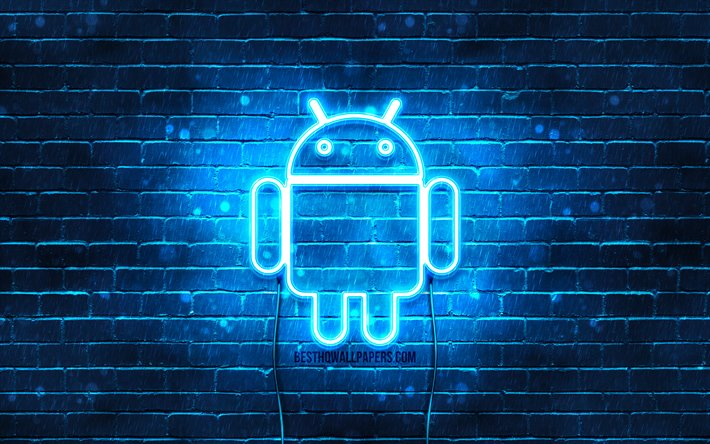 Download Wallpapers Android Blue Logo 4k Blue Brickwall Android Logo Brands Android Neon Logo Android For Desktop Free Pictures For Desktop Free
