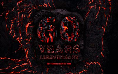 4k, 60 Years Anniversary, fire lava letters, 60th anniversary sign, 60th anniversary, grunge background, anniversary concepts