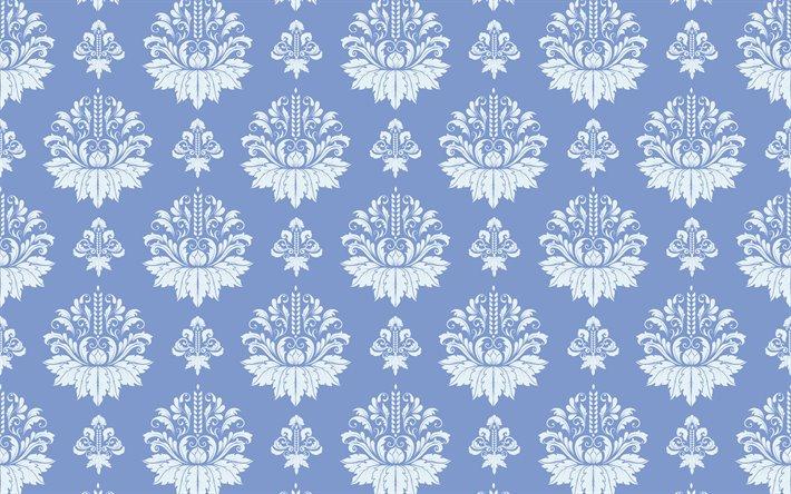 Download Wallpapers Vintage Floral Pattern 4k White Damask