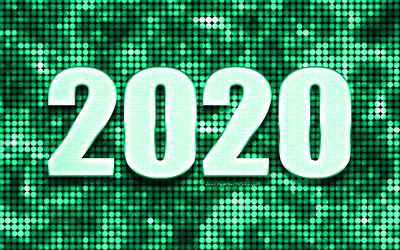Green 2020 background, Happy New Year 2020, Green abstract background, 2020 concepts, 2020 New Year, Green 2020 metal art