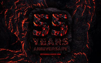 4k, 55 Years Anniversary, fire lava letters, 55th anniversary sign, 55th anniversary, grunge background, anniversary concepts