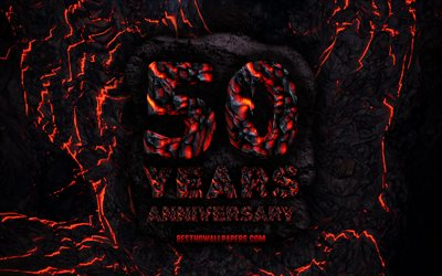 4k, 50 Years Anniversary, fire lava letters, 50th anniversary sign, 50th anniversary, grunge background, anniversary concepts