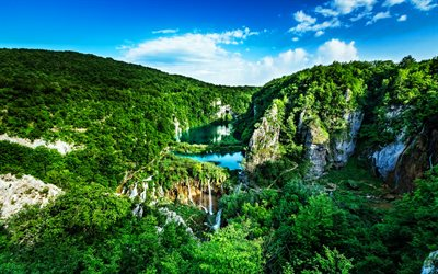 Croatia, Plitvice Lakes National Park, summer, beautiful nature, waterfalls, HDR, Croatian landmarks, Europe, Croatian nature