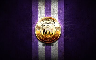 Toulouse FC, kultainen logo, League 1, violetti metalli tausta, jalkapallo, Toulouse Football Club, ranskan football club, Toulouse FC-logo, Ranska
