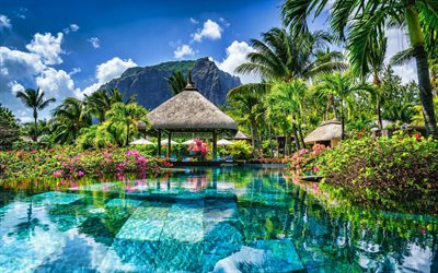 Mauritius, resort, hotel, sommar, blue pool, vatten, palms, HDR