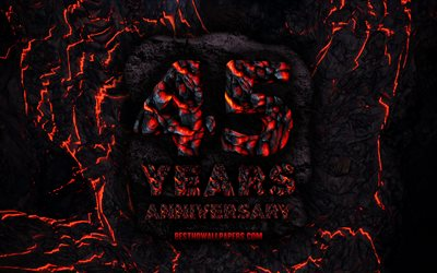 4k, 45 Years Anniversary, fire lava letters, 45th anniversary sign, 45th anniversary, grunge background, anniversary concepts