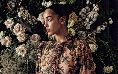 Jorja Smith, british singer, portrait, photoshoot, dress with flowers, popular british singers