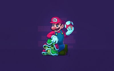 Super Mario, minimal, violet background, Super Mario Bros, Super Mario Maker 2