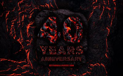 4k, 40 Years Anniversary, fire lava letters, 40th anniversary sign, 40th anniversary, grunge background, anniversary concepts
