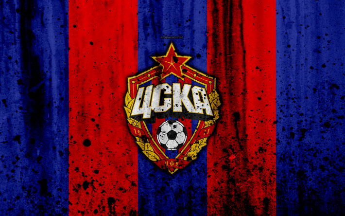 Download Wallpapers 4k, FC CSKA Moscow, Grunge, Russian