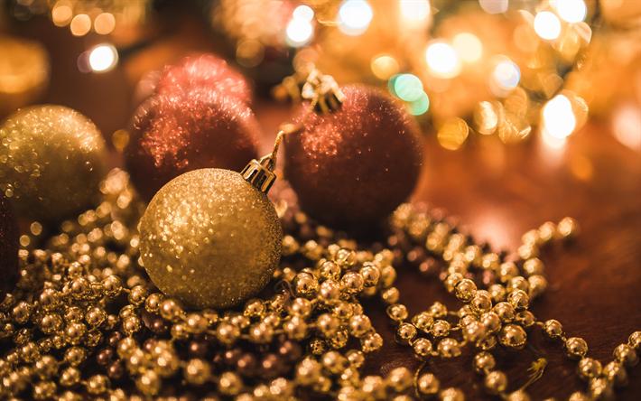 Sfondi Natalizi 4k.Scarica Sfondi Natale Decorazioni Perline Palline 4k Felice