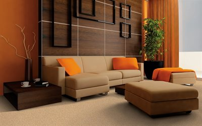 stylish living room interior, brown leather sofa, brown wood panels on the walls, modern interior design, living room