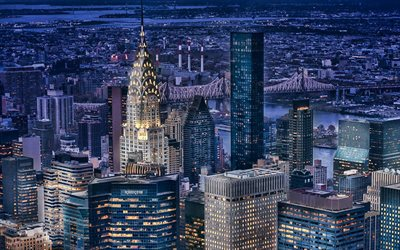 Chrysler Building, Manhattan, modern buildings, american cities, nightscapes, NYC, skyscrapers, New York, USA, Cities of New York, New York at night, America