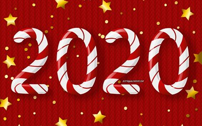 Happy New Year, 2020, red knitted background, candy letters, Red christmas background, 2020 concepts, 2020 red background