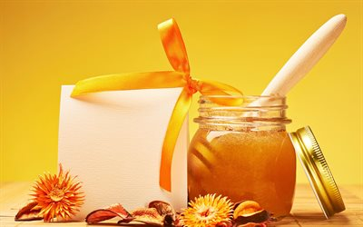 jar of honey, flower honey, honey concepts, orange silk bow, honey