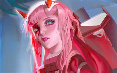 Download Wallpapers Zero Two Artwork Protagonist Girl With Pink Hair Fan Art Darling In The Franxx Manga For Desktop Free Pictures For Desktop Free