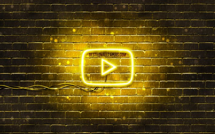 Download Wallpapers Youtube Yellow Logo 4k Yellow