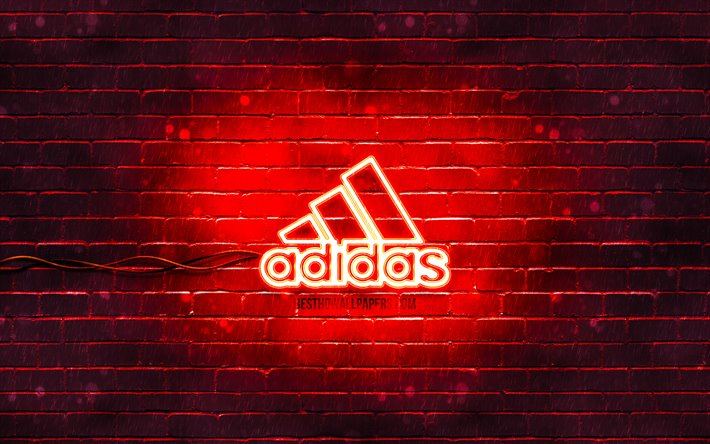 Download Wallpapers Adidas Red Logo 4k Red Brickwall