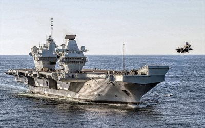 HMS Queen Elizabeth, R08, Royal Navy, British nuclear aircraft carrier, Lockheed Martin F-35 Lightning II, F-35B, United Kingdom, take-off from the deck of an aircraft carrier