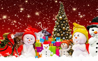 Christmas, snowmen, Happy New Year, Christmas tree, winter, snow, red background, Christmas gifts
