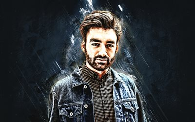 Oliver Heldens, Dutch DJ, portrait, blue stone background, creative art