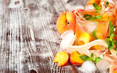 peach lemonade, soft drinks, peach compote, ice drinks, peach juice, peaches