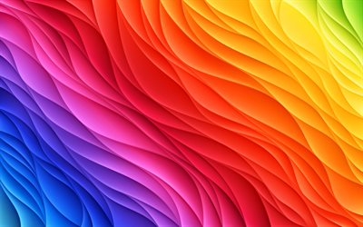 4k, 3D abstract waves, rainbow backgrounds, wavy 3D texture, colorful waves texture, colorful backgrounds