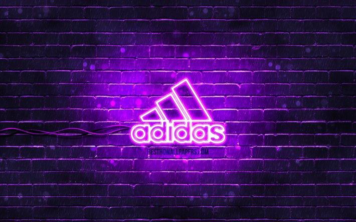 Download Wallpapers Adidas Violet Logo 4k Violet Brickwall