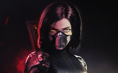 Alita, 4k, artwork, 2019 movie, The Alita Battle Angel, Rosa Salazar, cyberpunk