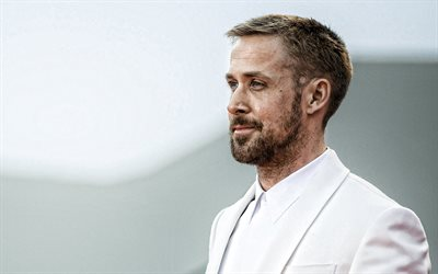 Ryan Gosling, portrait, canadian actor, photoshoot, white costume, canadian stars