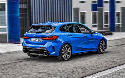 2020, BMW 1 Series, M135i, rear view, exterior, blue hatchback, new blue BMW 1, German cars, BMW