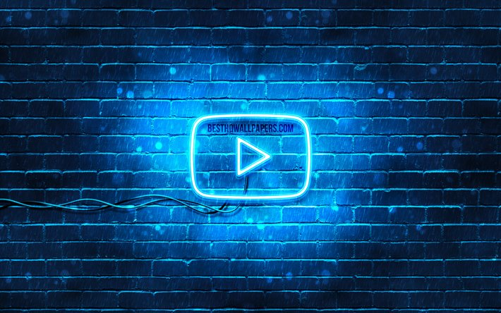 Download Wallpapers Youtube Blue Logo 4k Blue Brickwall