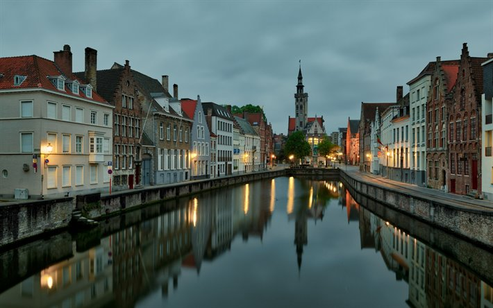Bruges, evening, sunset, Belgian city, church, Bruges cityscape, West Flanders, Belgium, Flemish Region