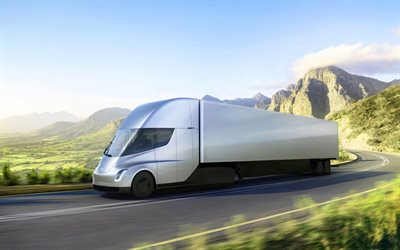 Tesla Semi, side view, exterior, electric truck, trucking concepts, delivery concepts, american trucks, Tesla