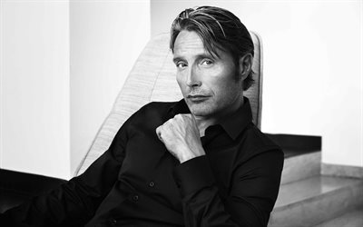 Mads Mikkelsen, Danish actor, portrait, photoshoot, monochrome, popular actor