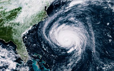 hurricane, North America, view from space, storm, ocean, aerial view