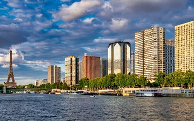 Paris, Seine River, Eiffel Tower, morning, houses, cityscape, capital of France, modern buildings, France