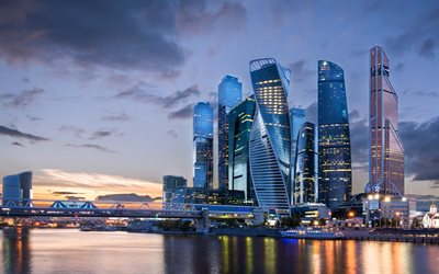 Moscow, Moscow City business district, skyscrapers, modern buildings, evening, sunset, Moscow River, Russian Federation