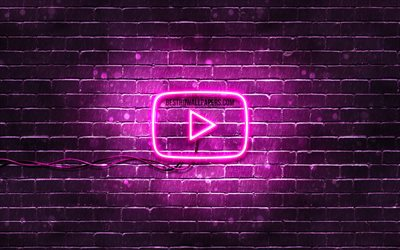 Youtube purple logo, 4k, purple brickwall, Youtube logo, brands, Youtube neon logo, Youtube