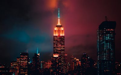 4k, Empire State Building, clouds, nightscapes, Manhattan, modern buildings, american cities, NYC, skyscrapers, New York, USA, Cities of New York, New York at night, America