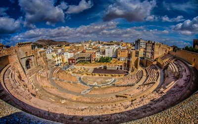 Roman theatre, Cartagena, ancient theater, ancient building, Cartagena cityscape, landmark, Spain