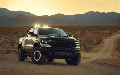 2021, Ram 1500 TRX, off-road truck, black pickup truck, tuning, new black Ram 1500, american cars, Ram