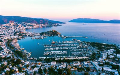 Bodrum, evening, sunset, bay, yachts, Adriatic sea, cityscape, Turkish resorts, Turkey
