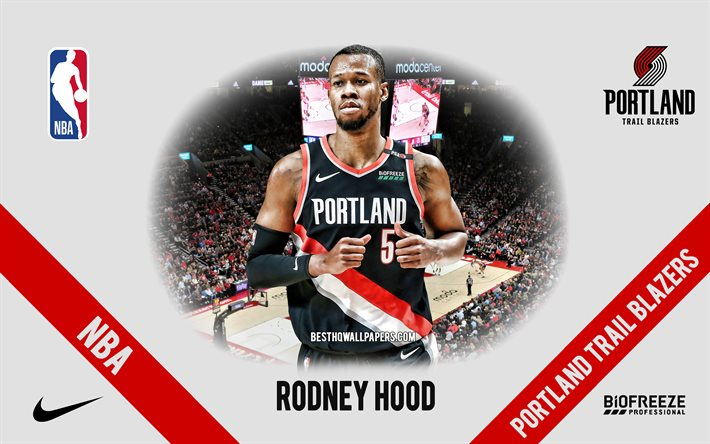 Rodney Hood, Portland Trail Blazers, American Basketball Player, NBA, portrait, USA, basketball, Moda Center, Portland Trail Blazers logo